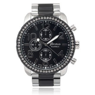 Geneva Platinum Men's Rhinestone Link Watch