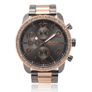 Geneva Platinum Men's Rhinestone Link Watch