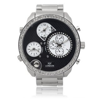 GP London Men's Rhinestone Multi-time Zone Link Watch