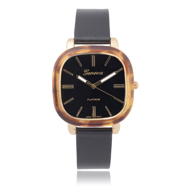 Geneva Platinum Tortoise Shell Quartz Watch