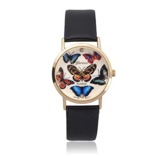 Geneva Platinum Butterfly Round Face Watch
