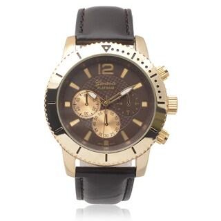 Geneva Platinum Men's Chronograph Faux Leather Band Watch