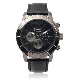 Geneva Platinum Men's Faux Leather Band Watch