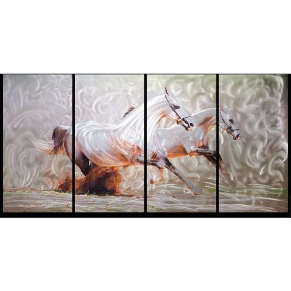 Wild Horses (White)' 4-piece Oversized Metal Wall Art