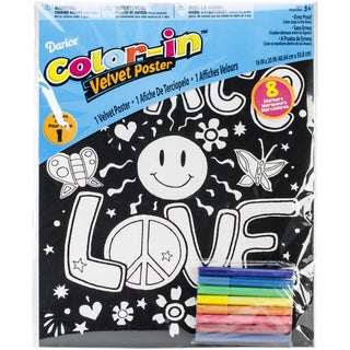 "Color-In Velvet Poster Art Set 16""X20""-Peace, Love, Groovy"