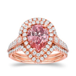 Auriya 18k Rose Gold 2 3/5ct TDW Fancy Pink Diamond Pear Halo Ring (VS1-VS2)