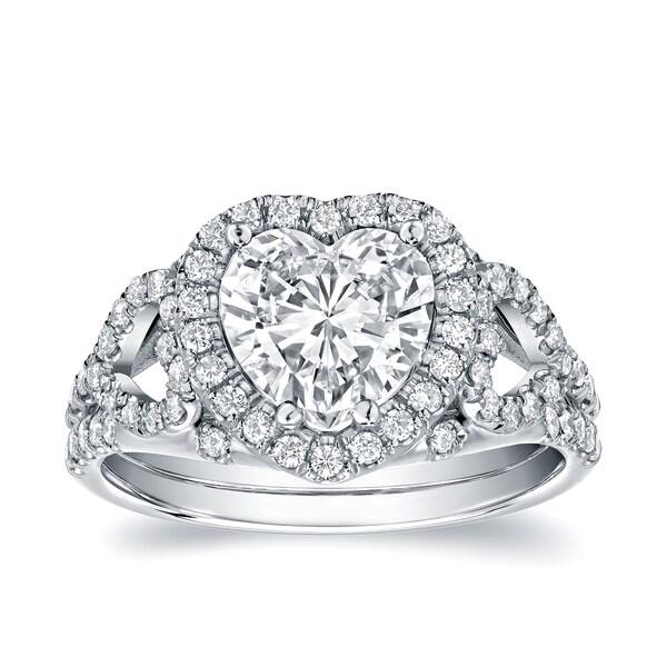 Auriya 18k White Gold 1 7/8ct TDW Certified Heart-Shaped Diamond Engagement Ring (D, VS1)