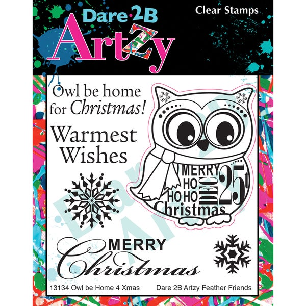 "Dare 2B Artzy Clear Stamps 4""X4"" Sheet-Owl Be Home For Christmas"