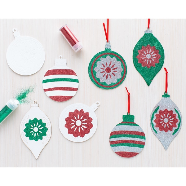 Merry & Bright Glitter Ornaments