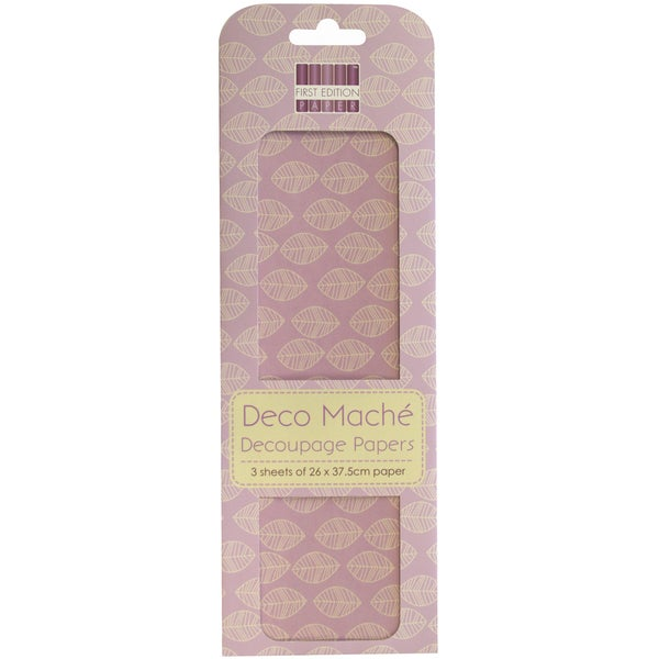 "Deco Mache Paper 10.25""X14.75"" 3/Pkg-New Bloom, Leaf Repeat"