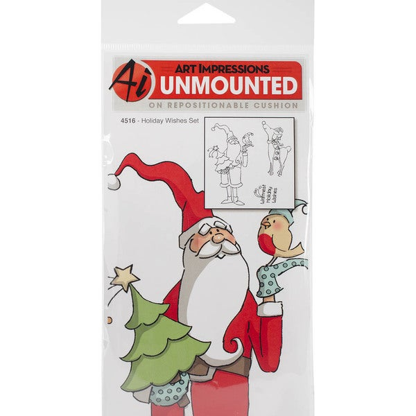 """Art Impressions Christmas Cling Rubber Stamp Set 8""""X4""""-Holiday Wishes"""