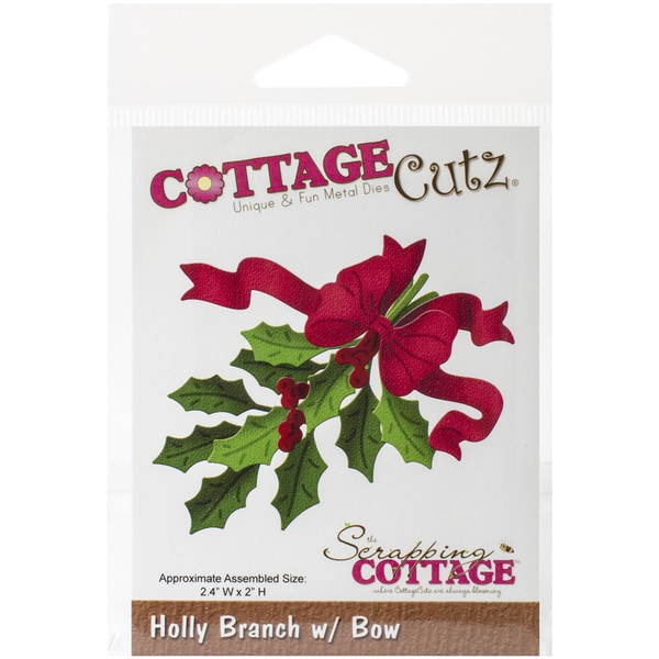 CottageCutz Die-Holly Branch W/Bow