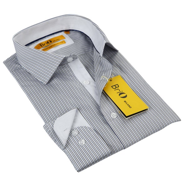 Brio Milano Men's Black/White Striped Floral Collar Button Down Shirt