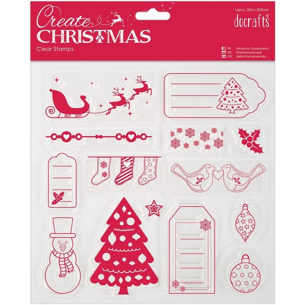 "Papermania Create Christmas Clear Stamps 8""X8""-Merry Christmas"