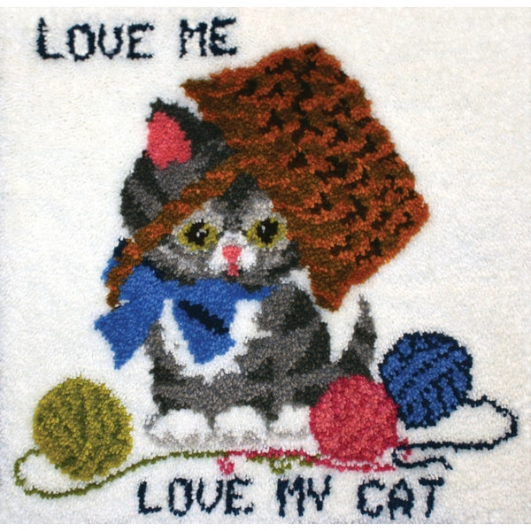 "Latch Hook Kit 27""X26""-Love Me, Love My Cat"