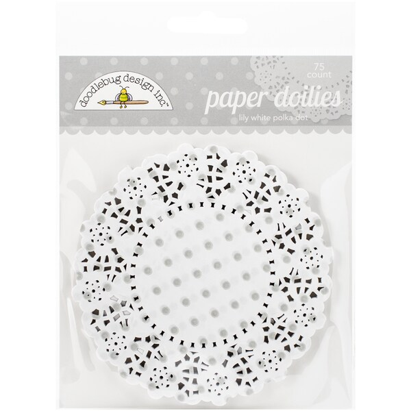"Doodlebug Doilies 4.5"" 75/Pkg-Lily White Polka Dot"