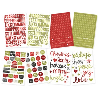 """DIY Christmas Stickers 4""""X6"""" Sheets 8/Pkg-Letters & Words"""
