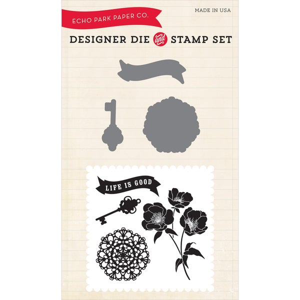 Echo Park Die & Stamp Combo Set-Life Is Good