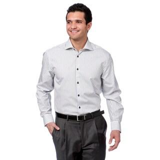 BriO Milano Men's White/ Grey Striped Floral Collar Button Down Dress Shirt