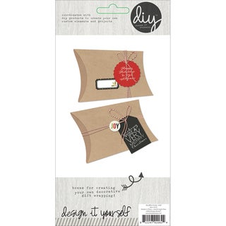 "DIY Pillow Boxes 6""X3"" 3/Pkg-Kraft"