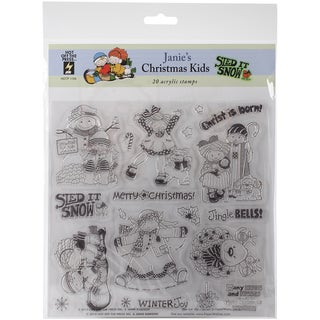 """Hot Off The Press Acrylic Stamps 8""""X8"""" Sheet-Janie's Chrismtas Kids"""