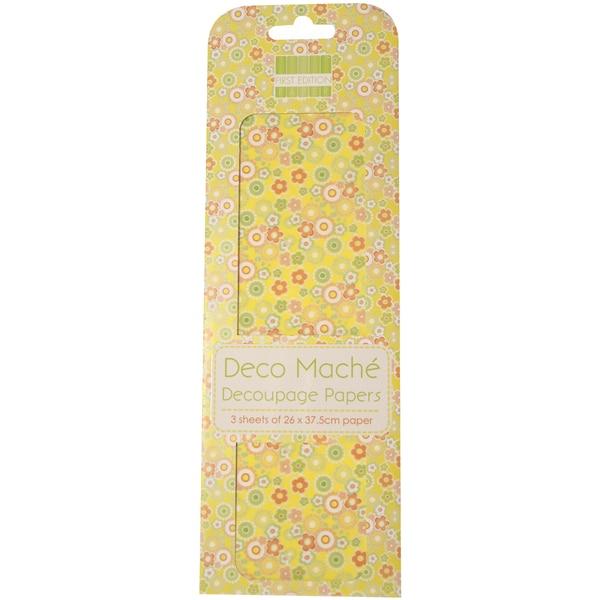 """Deco Mache Paper 10.25""""X14.75"""" 3/Pkg-Hideaway, Ditsy Floral"""