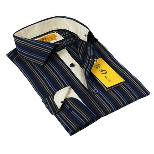 BriO Milano Men's Black/ Blue/ Beige/ Grey Button Down Dress Shirt