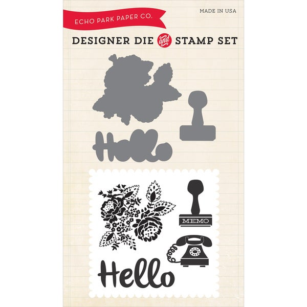 Echo Park Die & Stamp Combo Set-Hello Again