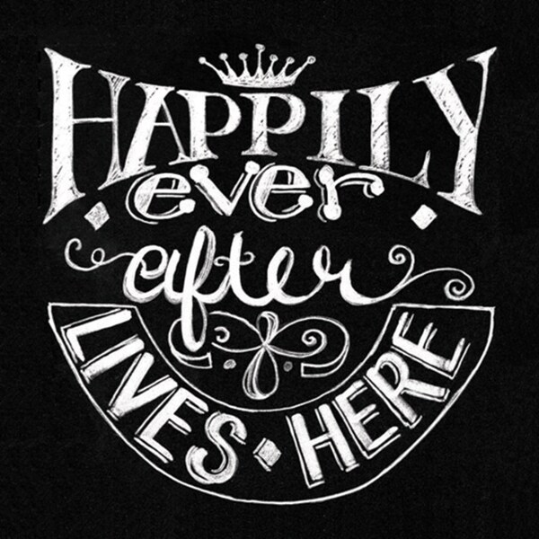 "Chalkboard Canvas Print 15.75""X15.75""-Happily Ever After"