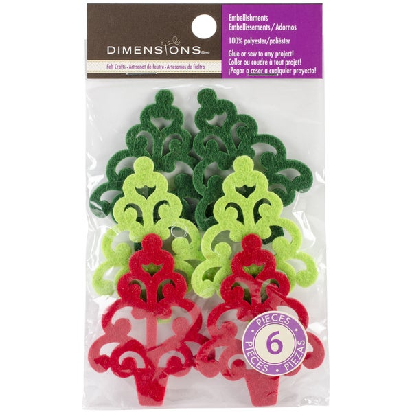 Feltworks Laser Cut Trees-Green, Lime & Red 6/Pkg
