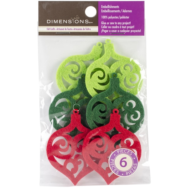 Feltworks Laser Cut Ornaments-Green, Lime & Red 6/Pkg