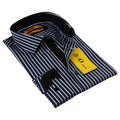 BriO Milano Men's  Navy/ Black/ White  Button Down Dress Shirt