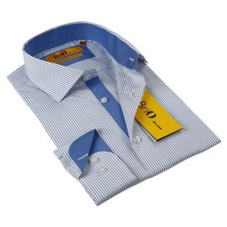 BriO Milano Men's Striped Blue/ White Button Down Dress Shirt