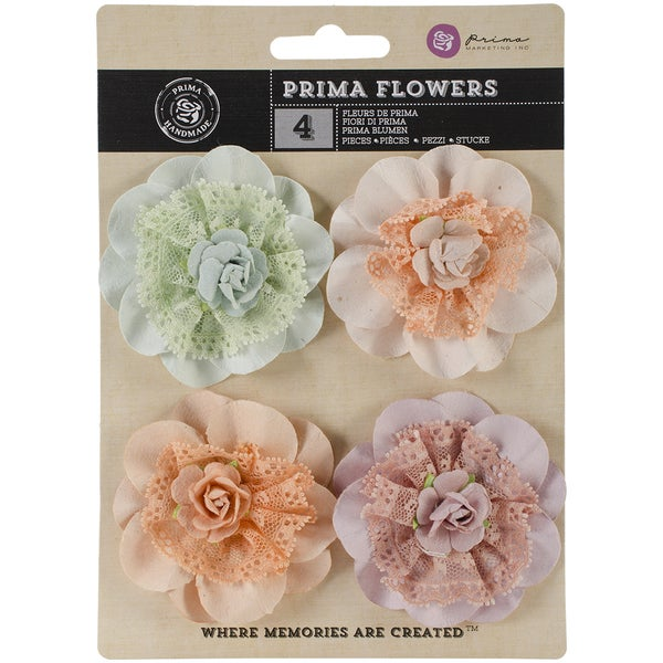 "Venice Fabric & Paper Flowers 2.5"" 4/Pkg-Forget Me Not"