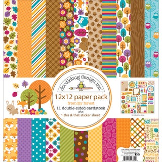 "Doodlebug Paper Pack 12""X12""-Friendly Forest"