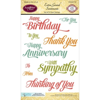 """JustRite Papercraft Clear Stamp Set 4""""X6""""-Extra Grand Sentiments 9pc"""