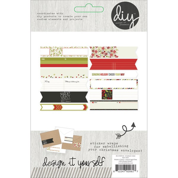 "DIY Christmas Stickers 4""X6"" Sheets 4/Pkg-Envelope Wraps"