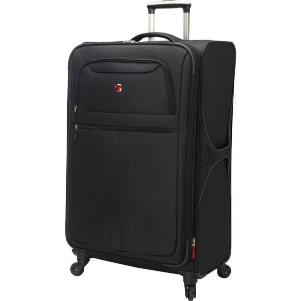 Swiss Gear 28-inch Black Large Lightweight Spinner Upright Suitcase
