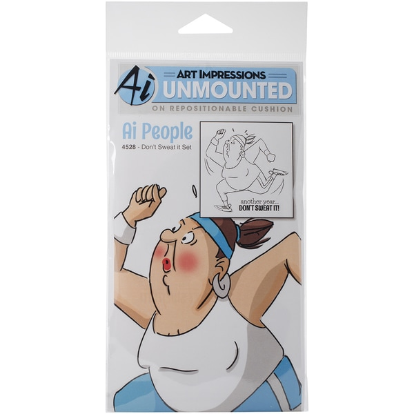 "Art Impressions People Cling Rubber Stamp 7""X4""-Don't Sweat It"