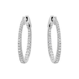 Beverly Hills Charm 14k White Gold 1ct Oval Round-cut Diamond Hoop Earrings (H-I, I2-I3)
