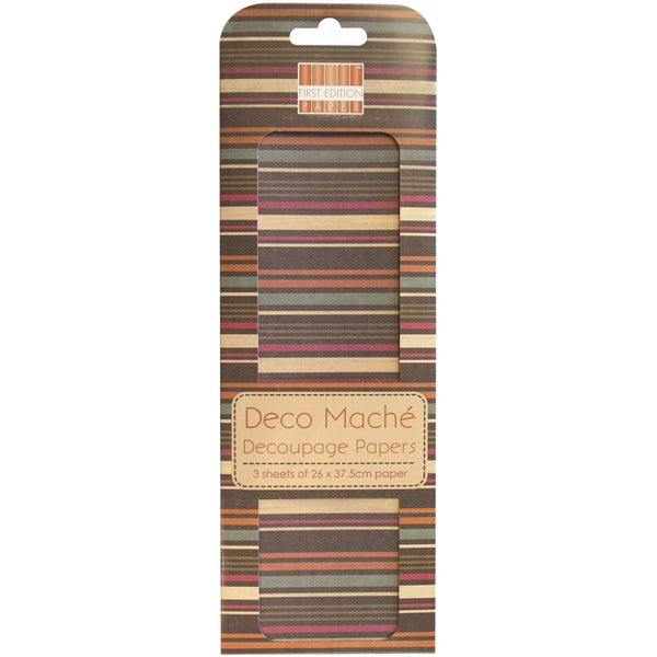 "Deco Mache Paper 10.25""X14.75"" 3/Pkg-Desert Bloom, Multi Stripe"