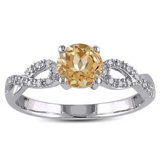 Miadora 10k White Gold Yellow Beryl and 1/10ct TDW Diamond Infinity Ring (G-H, I1-I2)