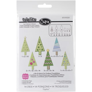 Sizzix Triplits Dies By Stephanie Barnard-Christmas Trees, 14/Pkg