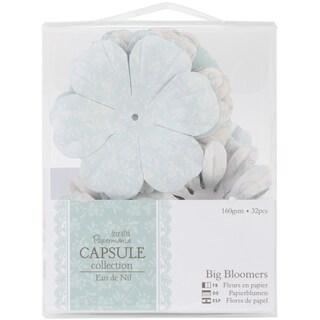 Papermania Eau De Nil Big Bloomers Paper Flowers 3in 32/Pkg