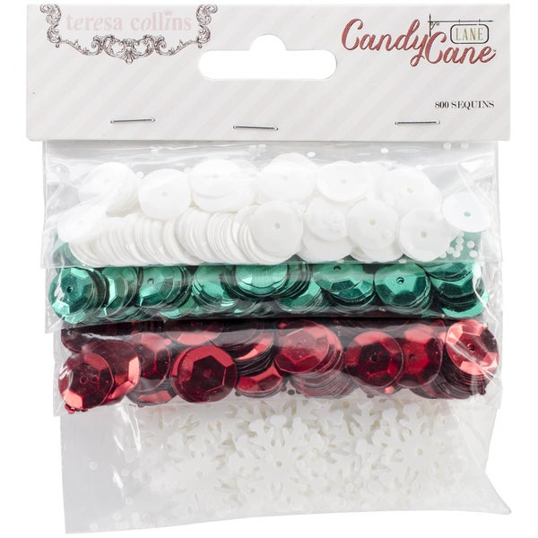 Candy Cane Lane Sequins 800/Pkg-4 Colors - Round & Shapes