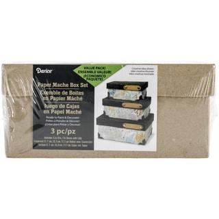 "Paper-Mache Rectangle Box Set Of 3-4"", 5"" & 6"""