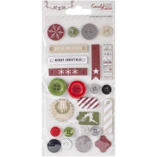 Candy Cane Lane Decorative Buttons & Chipboard-25 Pieces