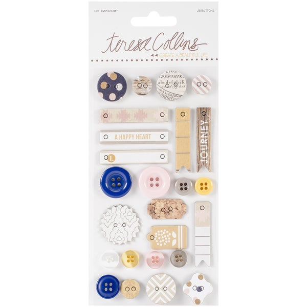 Life Emporium Decorative Buttons & Chipboard-25 Pieces