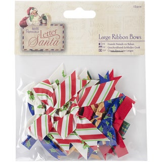 "Papermania Letter To Santa Large Ribbon Bows 12/Pkg-1.75"" To 2"""