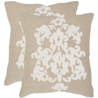 Safavieh Margie Beige 22-inch Square Throw Pillows (Set of 2)
